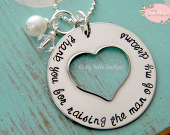 Thank You For Raising The Man of My Dreams - Personalized Hand Stamped Necklace with Clear Swarovski Stone and Ivory Pearl