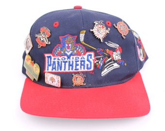 vintage Bugs Bunny 1990s  panthers NHL hockey snap back hat mens with lots of extra pins bugs bunny