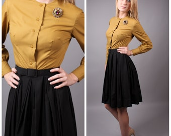 vintage 1950s mustard yellow cotton & charcoal grey pleated fitted dress ruffle neck size small mad men secretary mid century modern circle