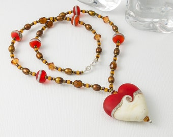 "Lampwork Heart Pendant Necklace ""Tandoori"""