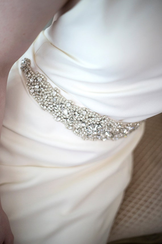 Bridal gown sash wedding dress sash rhinestone sash for Wedding dress sash with rhinestones