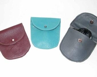 Turquoise, Garnet Burgundy or Grey Lambskin Ear Bud Pouch Coin Purse Handmade