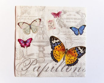 Vintage Butterfly Napkin, Paper Napkin for Decoupage, Craft Napkin, Scrapbooking Napkin, Decoupage Paper Tissue, Butterfly Decoupage