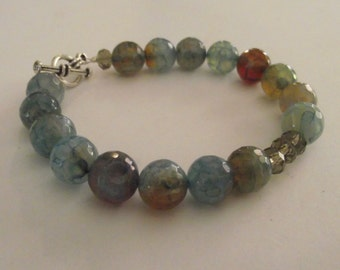 Pretty Blue/Brown Dragon Vein Bracelet with Bronze crystal accent