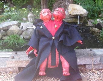 Doll Creepy Scary ooak Halloween Hand Sculpted Two headed Demon Doll