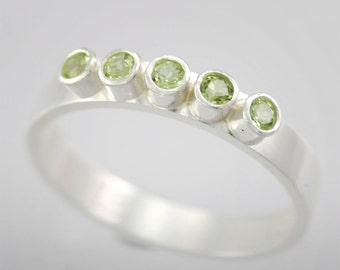 5 Stone Ring (Peridot) Made to Order