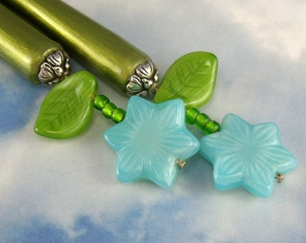 Hairstick Starflower In Czech Pressed Glass On Petite Sticks