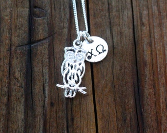 Chi Omega Necklace, Chi Omega Owl Sterling Silver - Sorority Jewelry, Greek Jewelry, Sorority Necklace, Big Little Gift, Sorority Gift