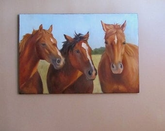 Horse Painting, Animal,Gossip Party, Large 20x30 Original Canvas by Cheri Wollenberg