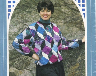 Tumbling blocks pieced Pull Over top, sizes extra small - extra large, vintage pattern by Gail Abeloe, Back Porch Press