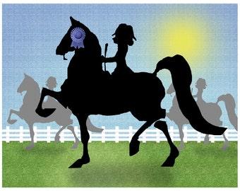 "Saddlebred Saddleseat Horse print 8"" x 10"""