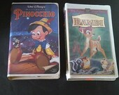 2 VHS Movies,Walt Disney Classic.Pinocchio,Walt Disney's Masterpiece ~Bambi,55th Anniversary-Limited Edition ~Both rated G