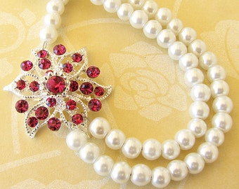 Wedding Jewelry Bridesmaid Necklace Bridal Jewelry Flower Necklace Pearl Necklace Pink Ruby Bridesmaid Gift Double Strand