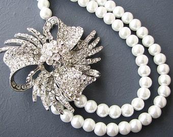 Wedding Jewelry Pearl Necklace Bridal Jewelry Rhinestone Wedding Necklace Statement Necklace