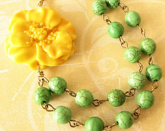 Multi Strand Necklace Flower Necklace Green Jewelry Beaded Necklace Yellow Necklace Bridesmaid Gift
