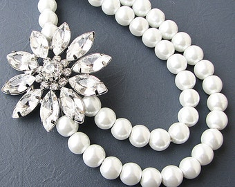 Bridal Jewelry Rhinestone Wedding Necklace Wedding Jewelry Pearl Bridal Necklace Flower Necklace Statement