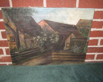Antique Primitive Village Street Original Oil Painting on Canvas for Repair