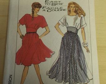 Easy Yoked Dress full skirt 10 12 14 Simplicity 8487