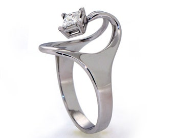 ISIDE Solitaire Square Diamond  Ring, Diamond Ring, 14K White Gold Ring, Unique Engagement Ring, Princess Diamond Ring, Egyptian