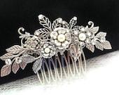 Wedding headpiece, Bridal hair comb, Antique silver hair clip, Wedding hair accessory, Rhinestone hair comb, Swarovski head piece, Hair vine