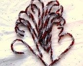 12 Tinsel Chenille Candy Canes Red and Silver Vintage Style, Primitive Chenille Ornaments  (CCC 6)