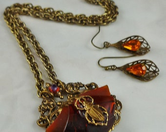 Vintage Filligree Beetle Amber Antique Gold Brass Necklace Set - FREE U.S. SHIPPING