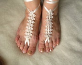 Bridal Lace Barefoot Sandals with Pearls, Beach, Pool Accessories