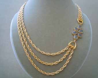 Harmony -- One of a Kind -- Gray Moonstone & Gold Twist Chain Necklace