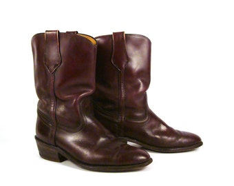 Frye Cowboy Boots Vintage 1980s Western Burgundy Men's size 8 1/2
