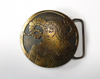 Aries Belt Buckle Vintage 1970s Brass  Horoscope Astrological Dege Designs