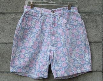 Floral Denim Shorts Vintage 1980s Bill Blass High Waist Waisted Roses