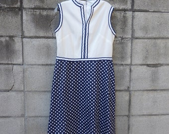 1970s Polyester Dress Vintage Blue and White Polka Dot