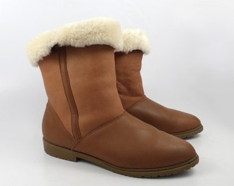 Shearling Boots Vintage 1980s Danexx  Women's size 8 1/2