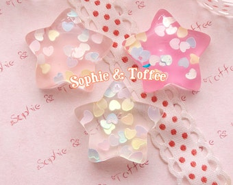 Kawaii Cabochon / Star Resin Cabochon / Heart Confetti Resin / Decoden Cabochon - 8pcs (No Pink)