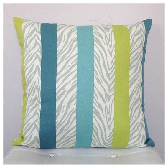 Blue Striped Throw Pillow Cover : Blue Striped Decorative Pillow Cover Zebra Print Pillow