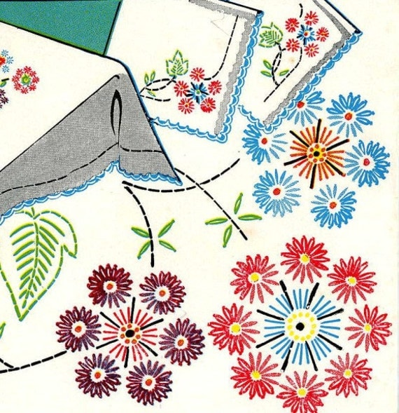 Vintage embroidery reproduction transfer lazy daisy