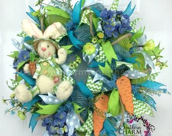 Deco Mesh Spring Wreath - Easter Wreath -Hydrangea Wreath - Bunny Wreath -Blue Green Wreath -Door Wreath