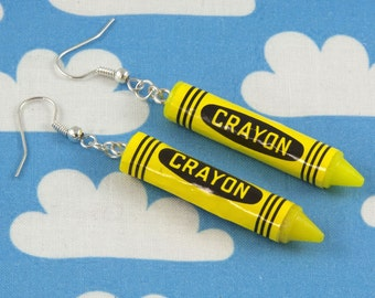 Yellow Crayon Earrings