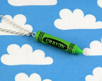 Green Crayon Necklace