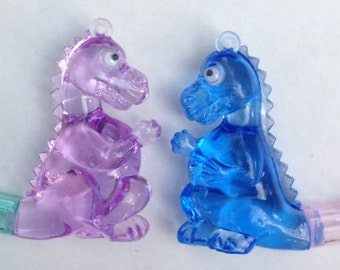 1970s Googley Eye Crystal Dinosaur Whistle Pendant in BLUE