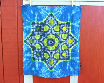 Tie Dye Tapestry - Lotus Blossom Mandala - 38in x 30 in. - Ready to Ship