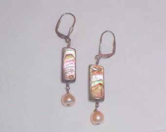 Handmade Abalone and Freshwater Pearl Earrings with Sterling Wires