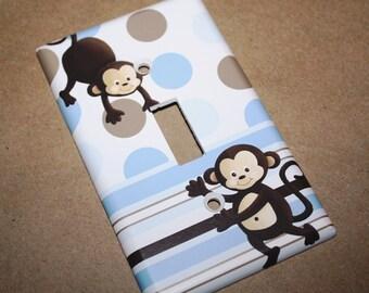 Blue Brown Pop Monkey Single Light Switch Cover Boys Bedroom Single Light Switch Cover LS0010