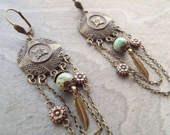 Bohemian Earth Goddess Earrings Antiqued Bronze Copper African Turquoise Tribal Tibetan Boho Hippie Nature