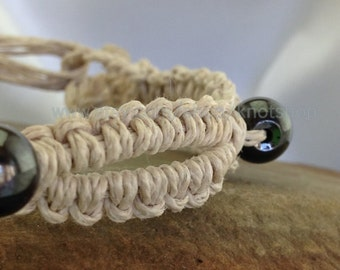 Antique White Hemp Macrame Bracelet or Anklet with Hematite Beads - Beaded Jewelry - 7 Inches