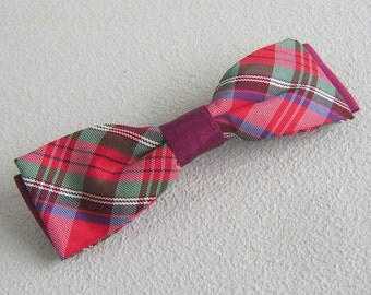 Vintage Boys Clip On Plaid Bow Tie Red Burgundy Green Holiday