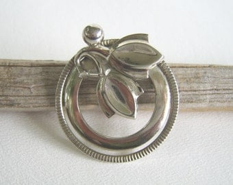 Vintage Silver Botanical Circle Brooch Mid Century