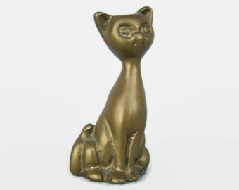 Vintage Brass Cat Figurine Solid Brass