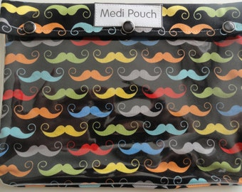 XL Medi Pouch Clear Travel Organizer for First Aid Toiletries Meds School Sports Dorm Hospital Overnights (7x9 You Choose Mustache Fabric)