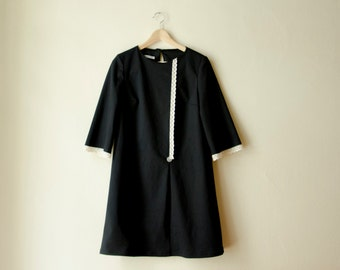 Black Cotton Mini Mod Dress, Retro Scooter Dress with Lace
